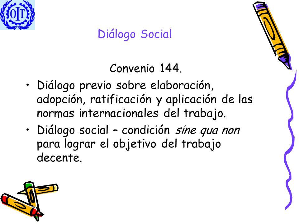 Diálogo Social Convenio 144. Diálogo previo sobre elaboración, adopción, ratificación y aplicación de las normas internacionales del trabajo.