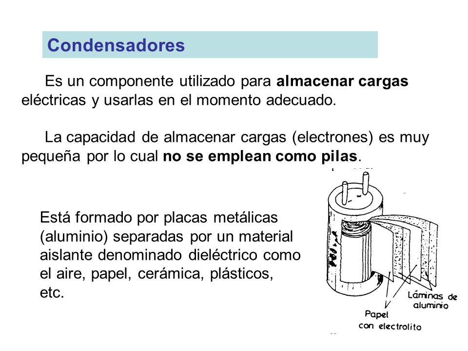 Condensadores Es un componente utilizado para almacenar cargas eléctricas y usarlas en el momento adecuado.
