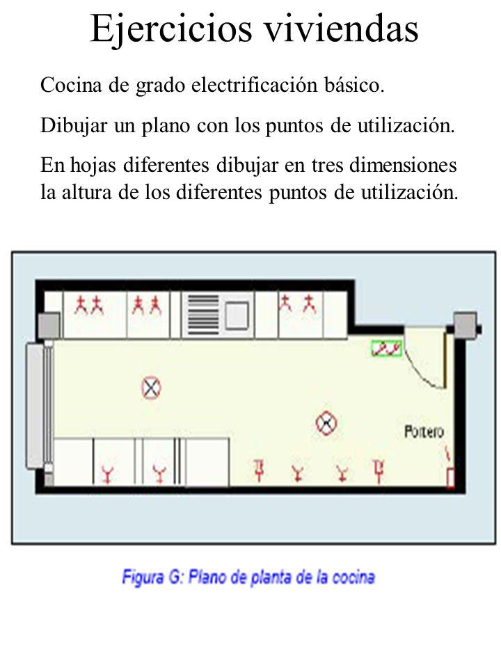 Ejercicios viviendas Cocina de grado electrificación básico.