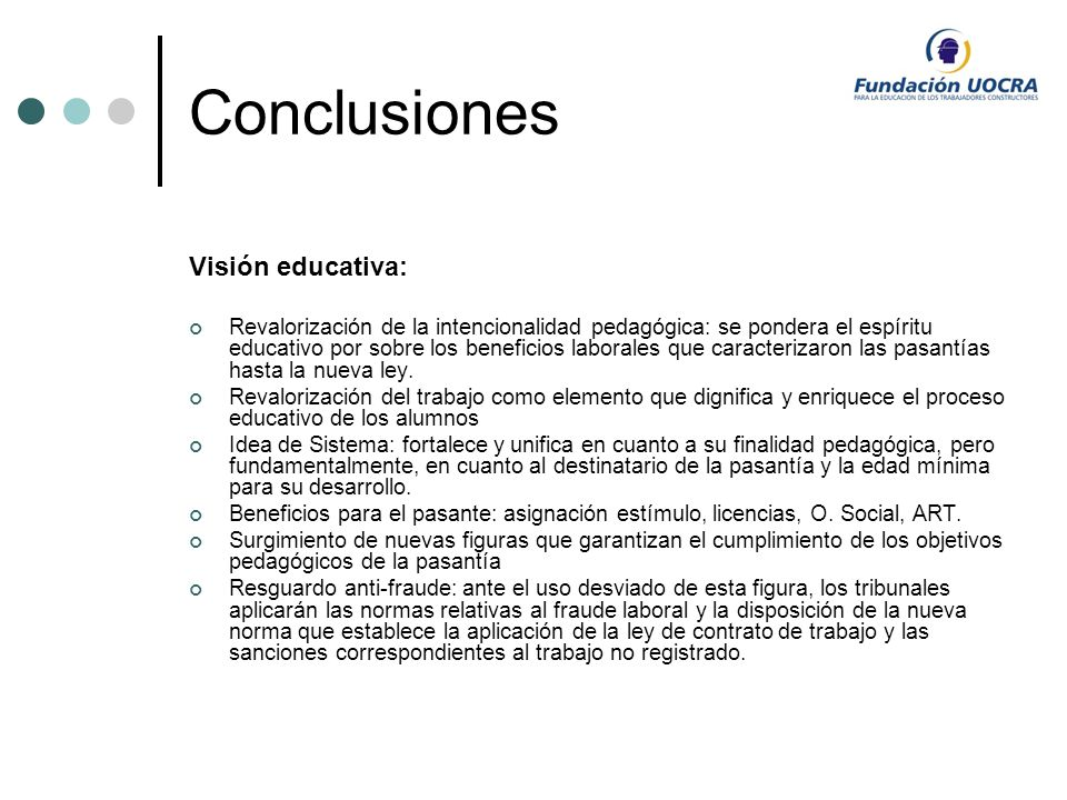 Conclusiones Visión educativa: