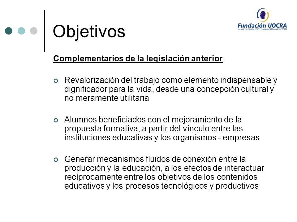 Objetivos Complementarios de la legislación anterior: