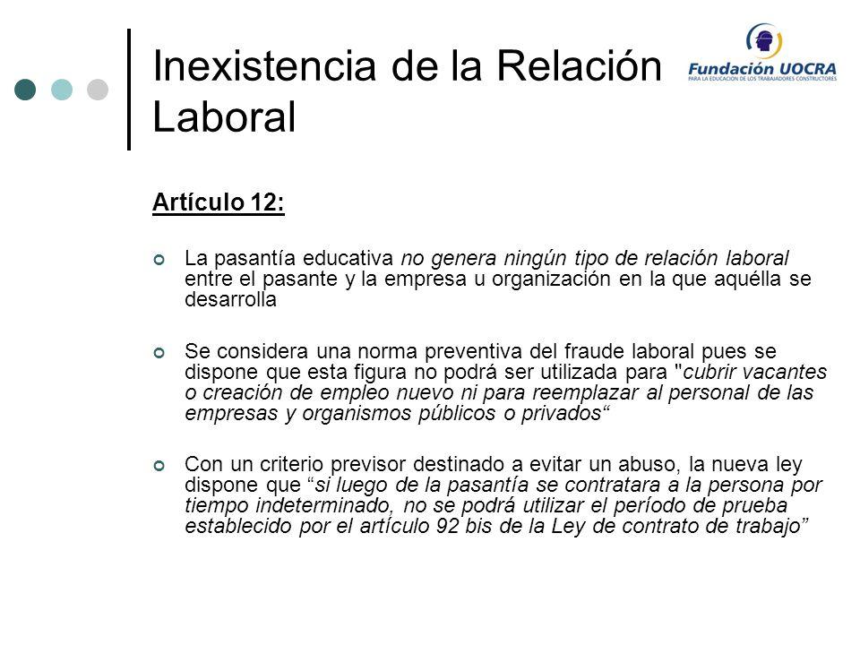 Inexistencia de la Relación Laboral