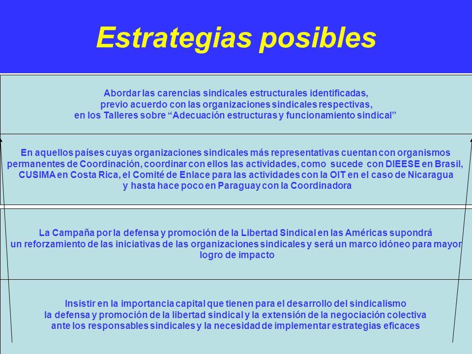 Estrategias posibles . Abordar las carencias sindicales estructurales identificadas, previo acuerdo con las organizaciones sindicales respectivas,