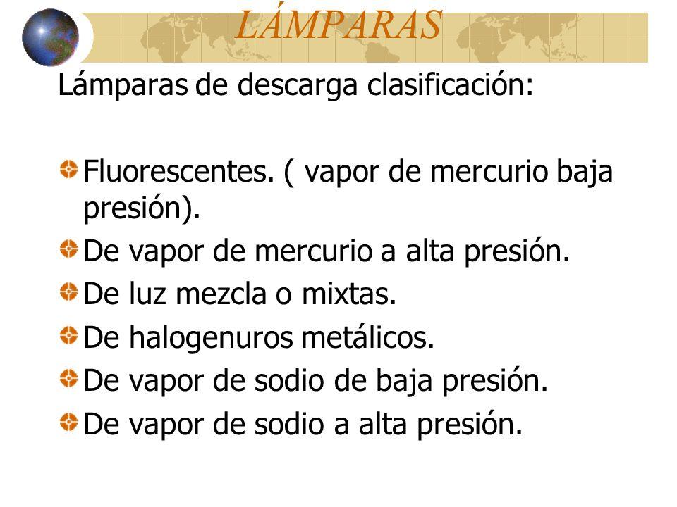 LÁMPARAS Lámparas de descarga clasificación: