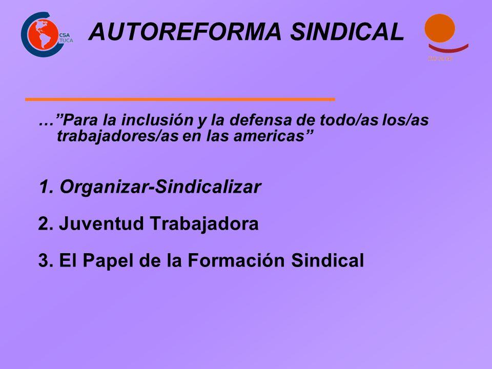 AUTOREFORMA SINDICAL 1. Organizar-Sindicalizar 2. Juventud Trabajadora