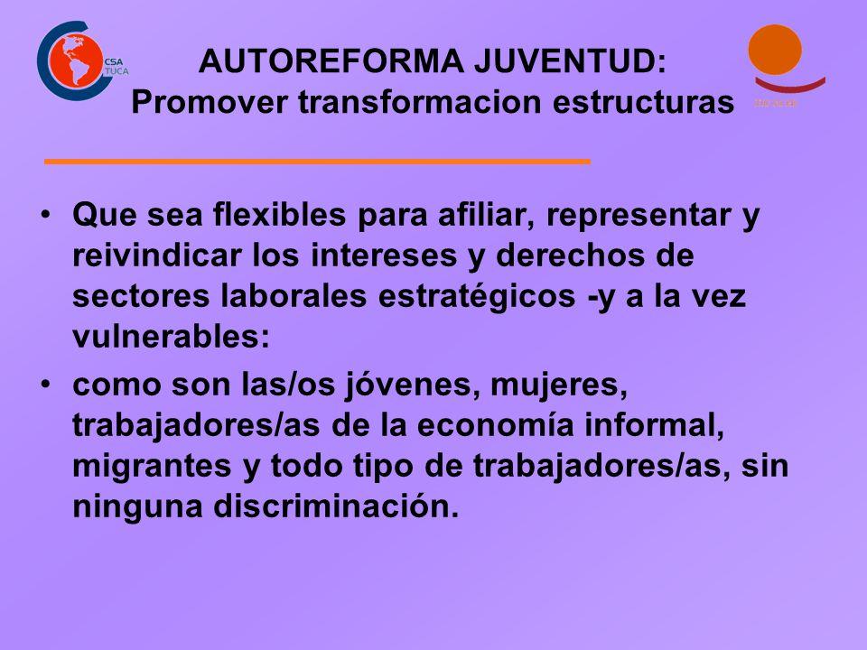 AUTOREFORMA JUVENTUD: Promover transformacion estructuras