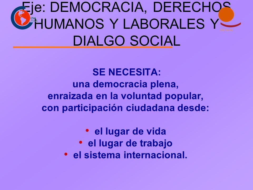 Eje: DEMOCRACIA, DERECHOS HUMANOS Y LABORALES Y DIALGO SOCIAL