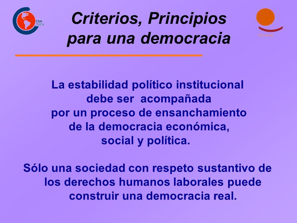 Criterios, Principios para una democracia