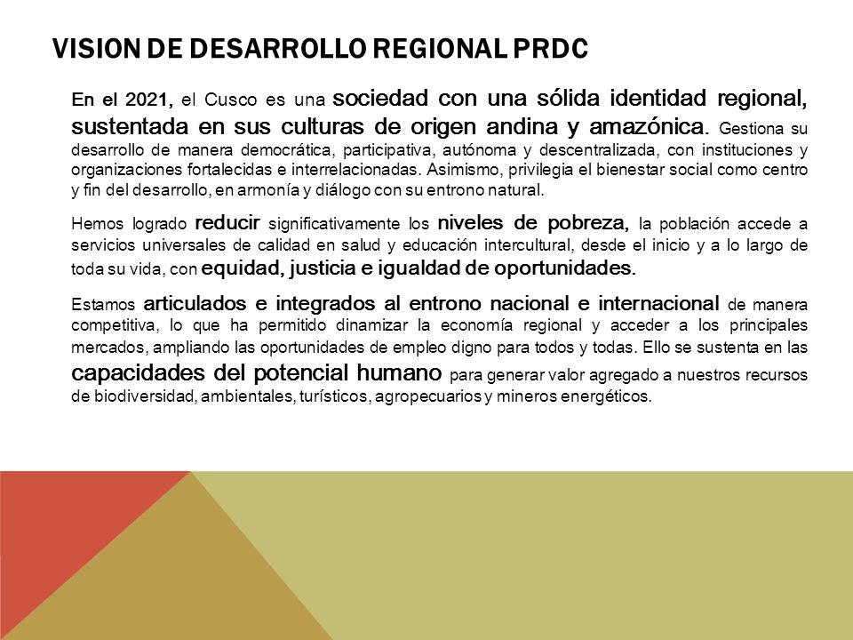 VISION DE DESARROLLO REGIONAL PRDC