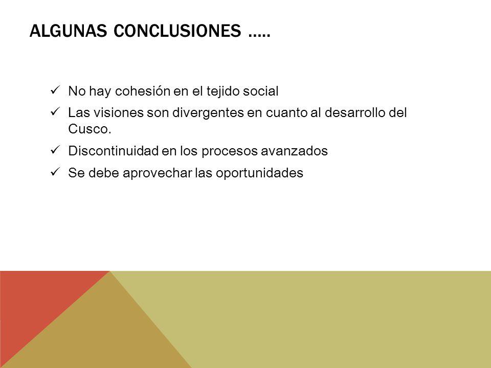 Algunas conclusiones …..