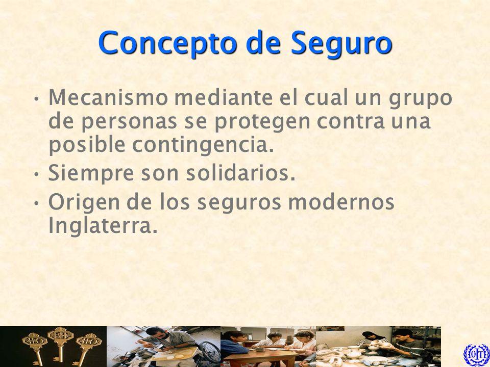 Concepto de Seguro Mecanismo mediante el cual un grupo de personas se protegen contra una posible contingencia.