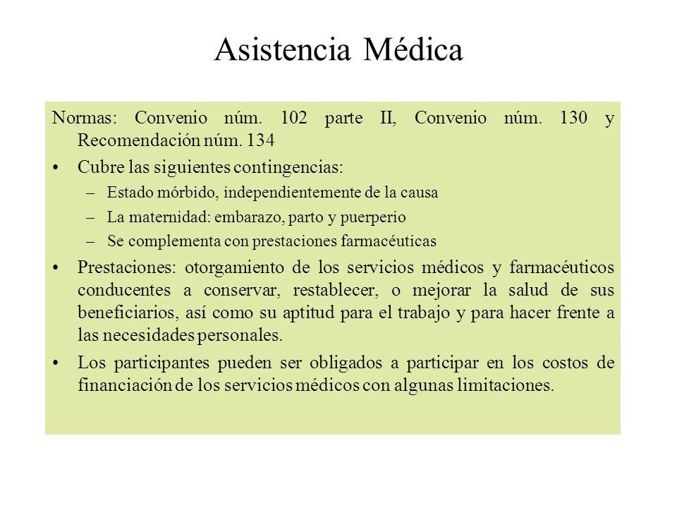 Asistencia Médica Normas: Convenio núm. 102 parte II, Convenio núm. 130 y Recomendación núm. 134. Cubre las siguientes contingencias:
