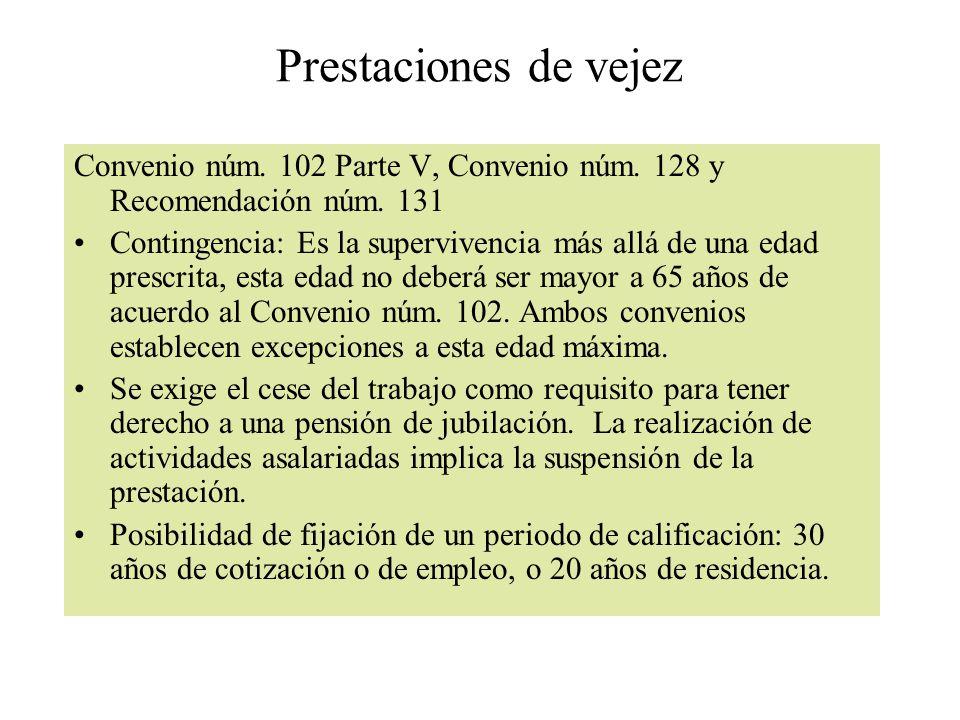 Prestaciones de vejez Convenio núm. 102 Parte V, Convenio núm. 128 y Recomendación núm. 131.