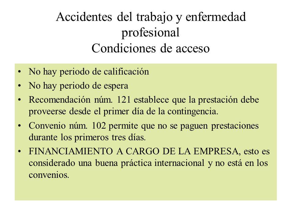 Accidentes del trabajo y enfermedad profesional Condiciones de acceso