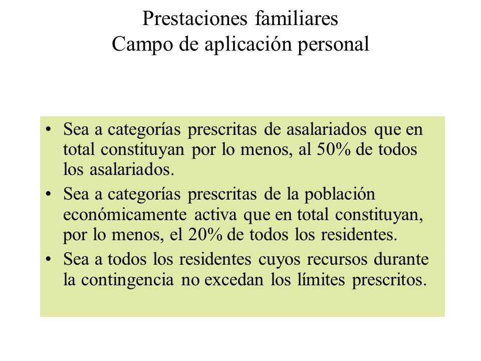 Prestaciones familiares Campo de aplicación personal