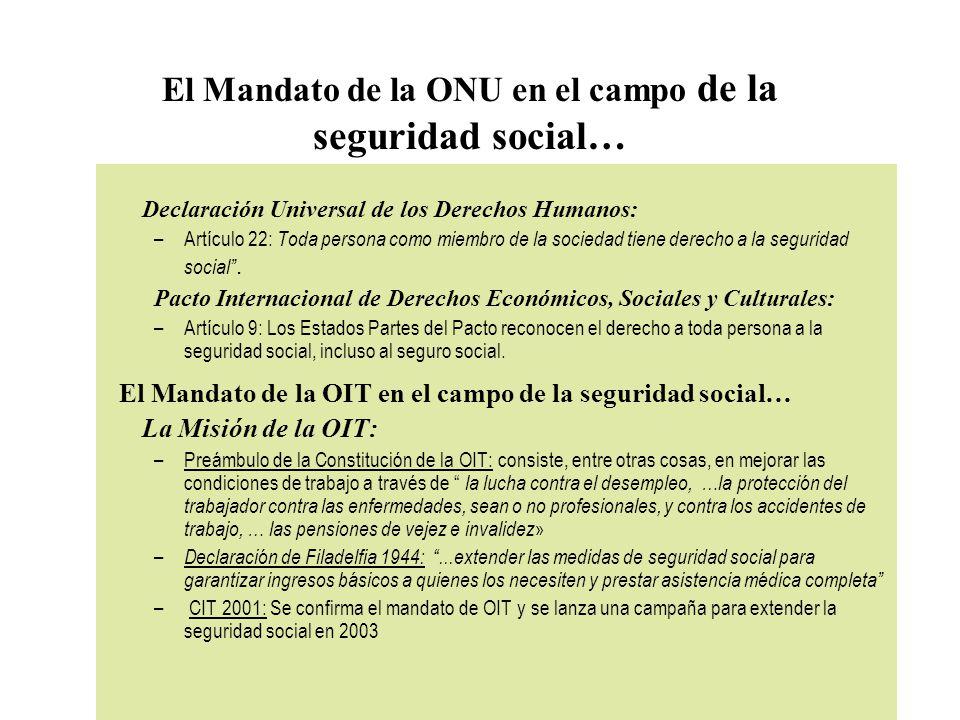 El Mandato de la ONU en el campo de la seguridad social…