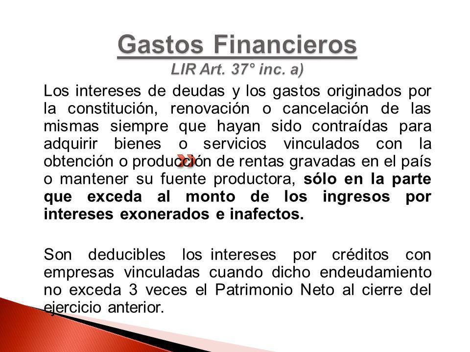 Gastos Financieros LIR Art. 37° inc. a)