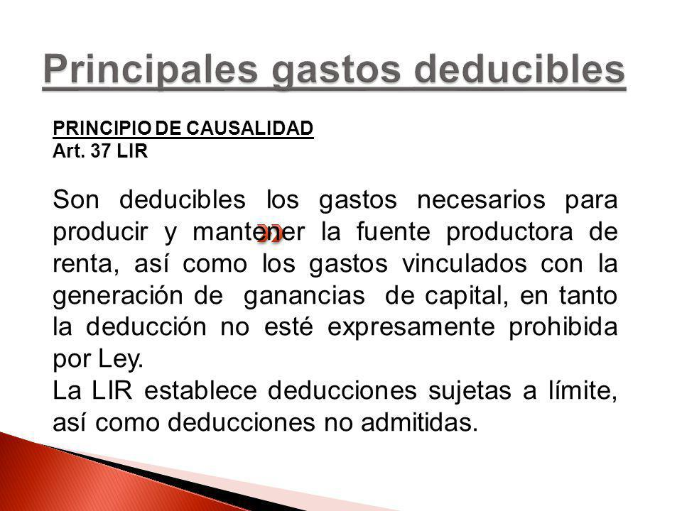 Principales gastos deducibles