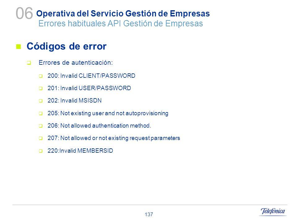 06 Operativa del Servicio Gestión de Empresas Errores habituales API Gestión de Empresas. Códigos de error.