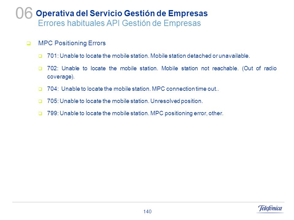 06 Operativa del Servicio Gestión de Empresas Errores habituales API Gestión de Empresas. MPC Positioning Errors.