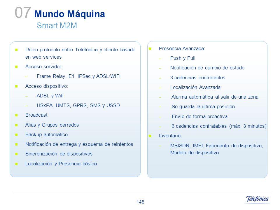 07 Mundo Máquina Smart M2M. Único protocolo entre Telefónica y cliente basado en web services. Acceso servidor: