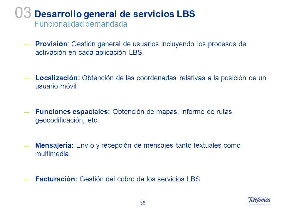 Desarrollo general de servicios LBS Funcionalidad demandada
