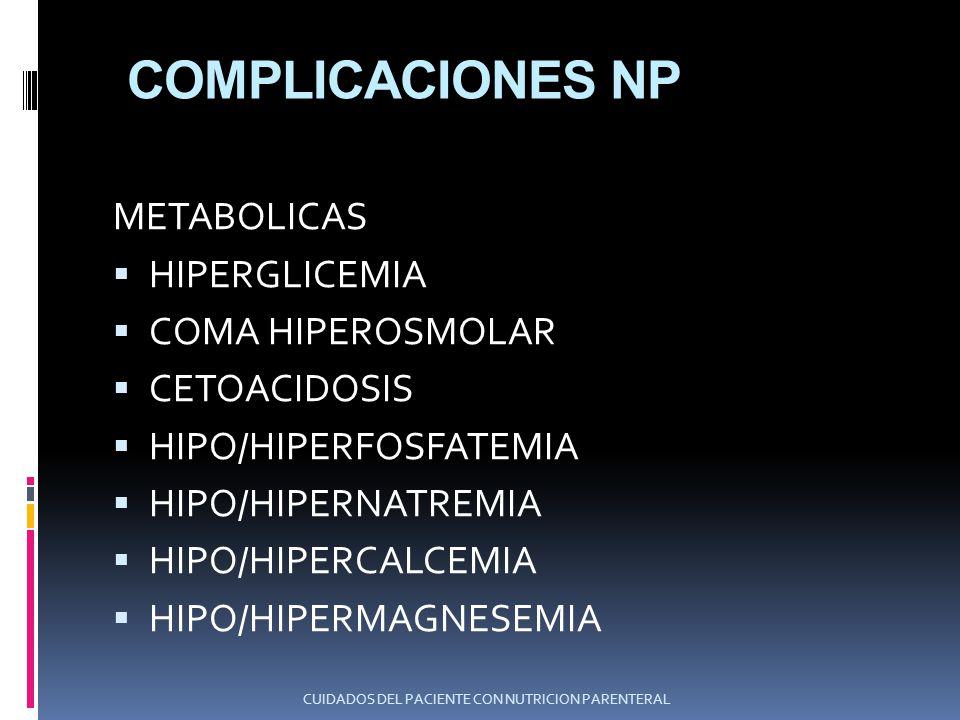 COMPLICACIONES NP METABOLICAS HIPERGLICEMIA COMA HIPEROSMOLAR