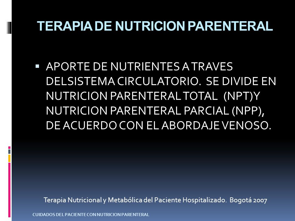 TERAPIA DE NUTRICION PARENTERAL