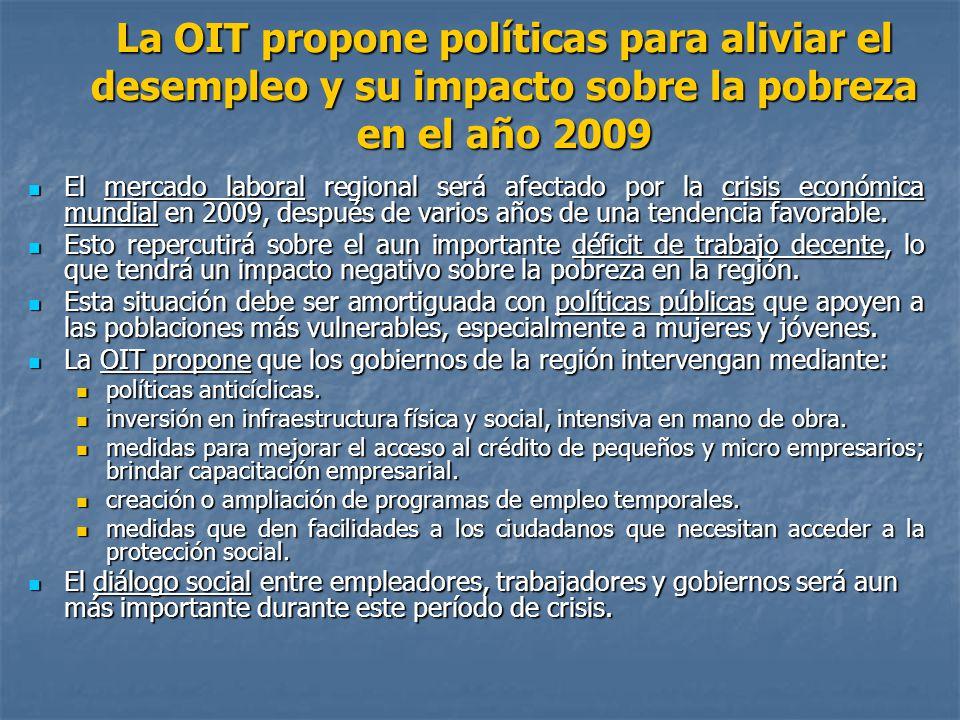 La OIT propone políticas para aliviar el desempleo y su impacto sobre la pobreza en el año 2009