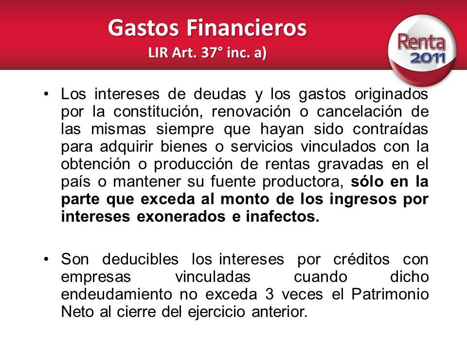 Gastos Financieros LIR Art. 37° inc. a)