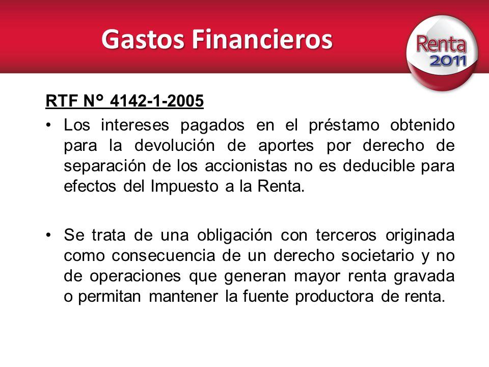 Gastos Financieros RTF N° 4142-1-2005