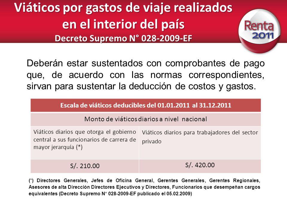 Escala de viáticos deducibles del 01.01.2011 al 31.12.2011