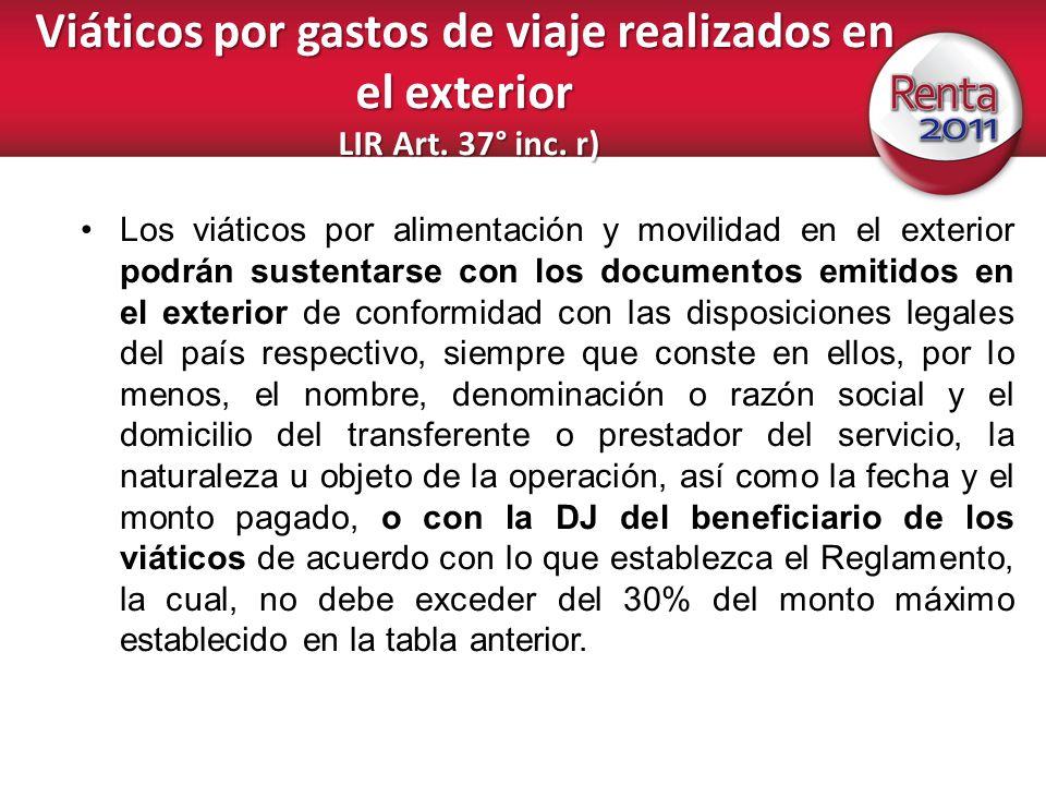 Viáticos por gastos de viaje realizados en el exterior LIR Art. 37° inc. r)