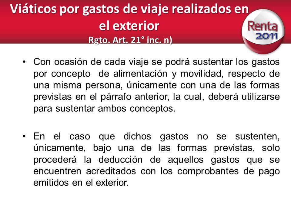 Viáticos por gastos de viaje realizados en el exterior Rgto. Art