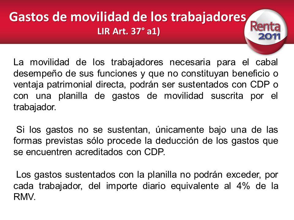 Gastos de movilidad de los trabajadores LIR Art. 37° a1)