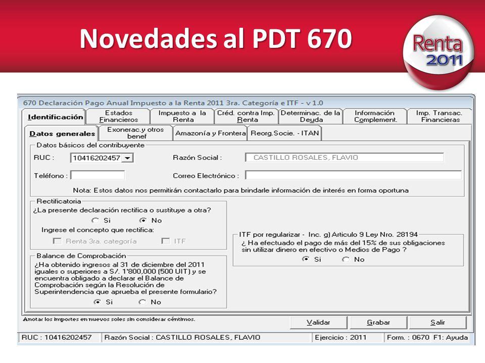 Novedades al PDT 670