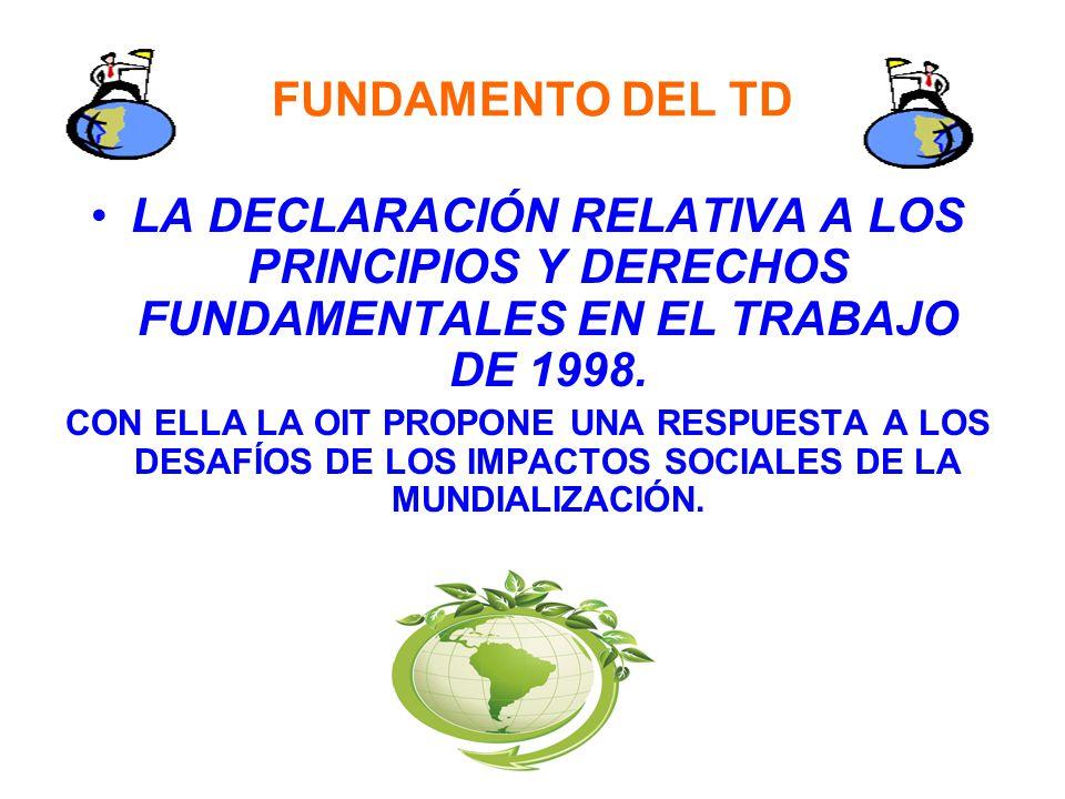 FUNDAMENTO DEL TD LA DECLARACIÓN RELATIVA A LOS PRINCIPIOS Y DERECHOS FUNDAMENTALES EN EL TRABAJO DE 1998.