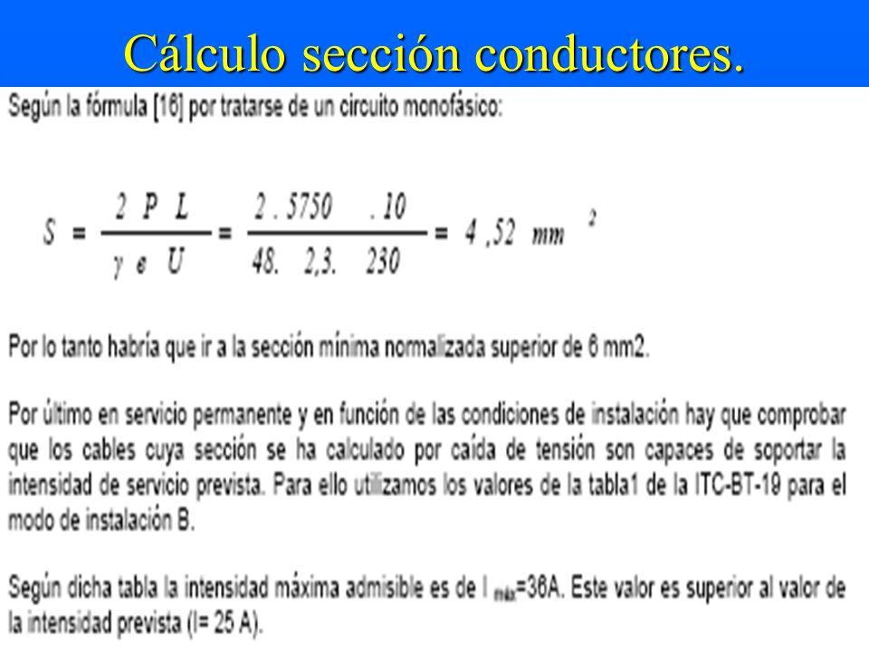 Cálculo sección conductores.
