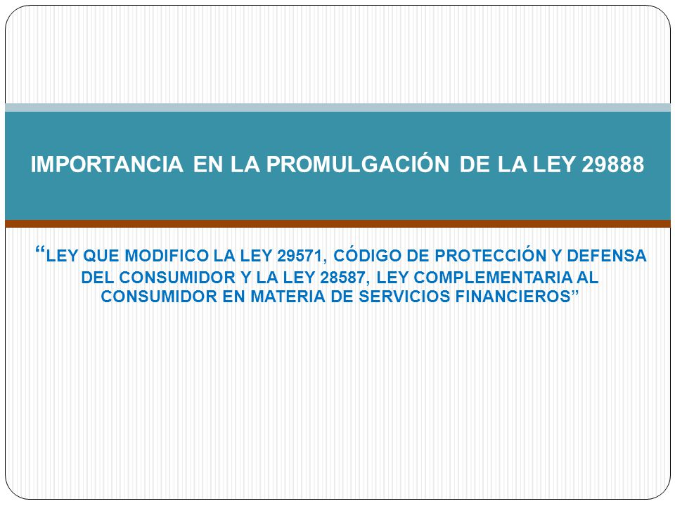 IMPORTANCIA EN LA PROMULGACIÓN DE LA LEY 29888
