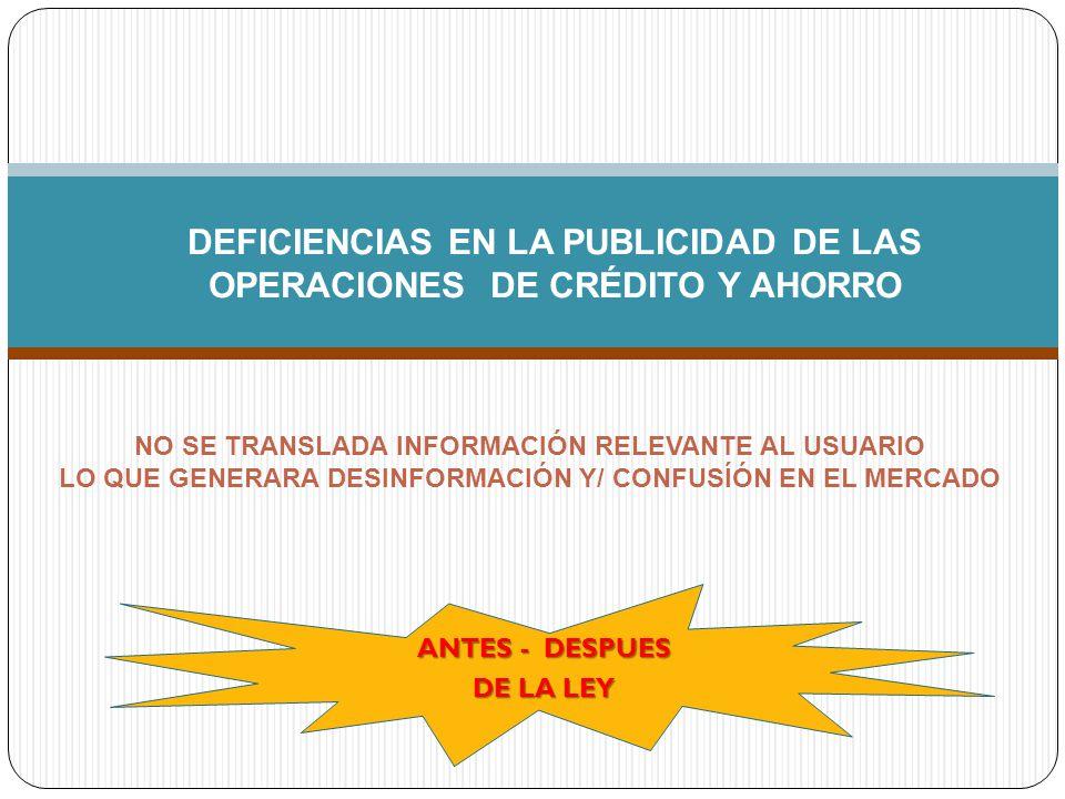 DEFICIENCIAS EN LA PUBLICIDAD DE LAS OPERACIONES DE CRÉDITO Y AHORRO