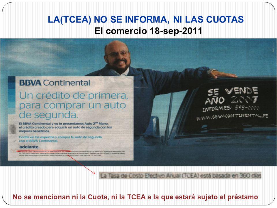 LA(TCEA) NO SE INFORMA, NI LAS CUOTAS