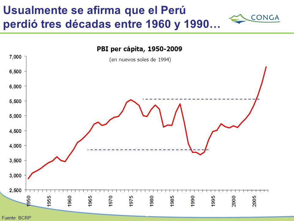 Usualmente se afirma que el Perú perdió tres décadas entre 1960 y 1990…