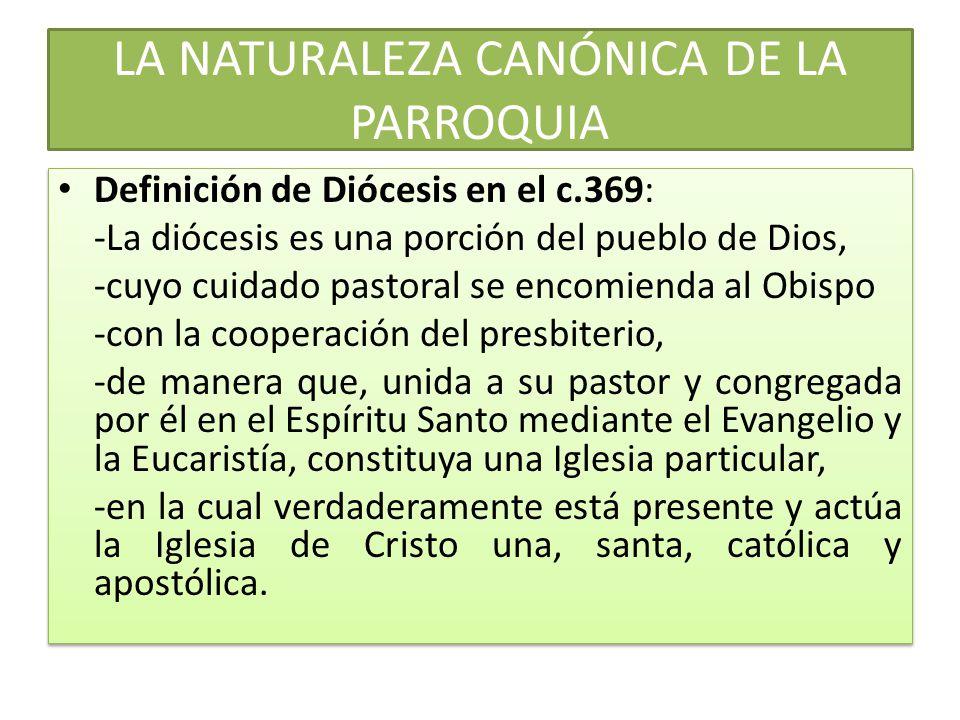 LA NATURALEZA CANÓNICA DE LA PARROQUIA