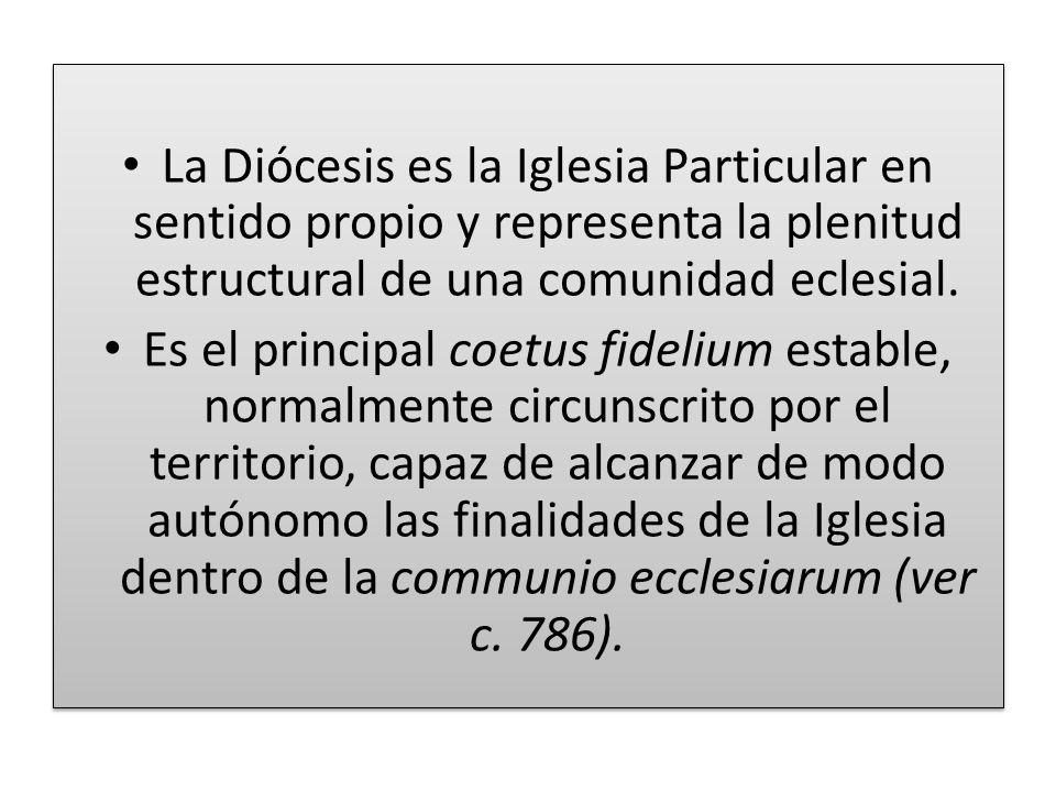 La Diócesis es la Iglesia Particular en sentido propio y representa la plenitud estructural de una comunidad eclesial.