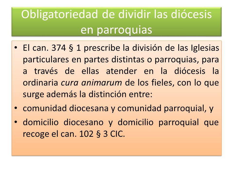Obligatoriedad de dividir las diócesis en parroquias