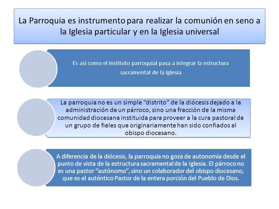 La Parroquia es instrumento para realizar la comunión en seno a la Iglesia particular y en la Iglesia universal