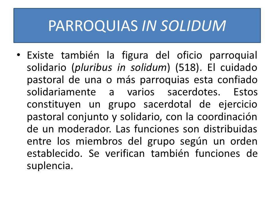 PARROQUIAS IN SOLIDUM