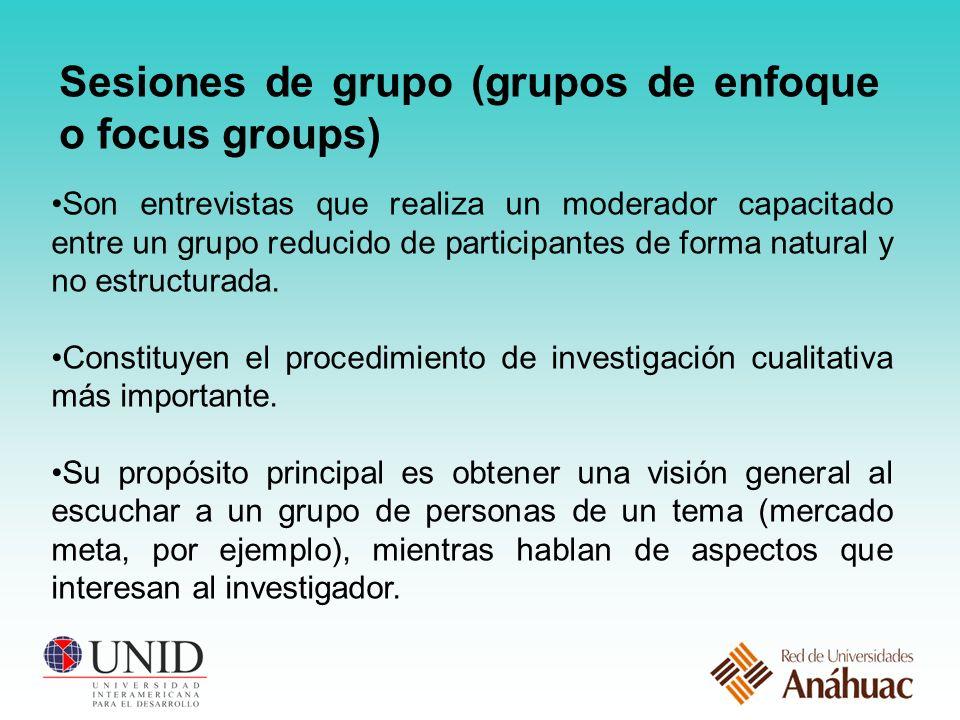 Sesiones de grupo (grupos de enfoque o focus groups)