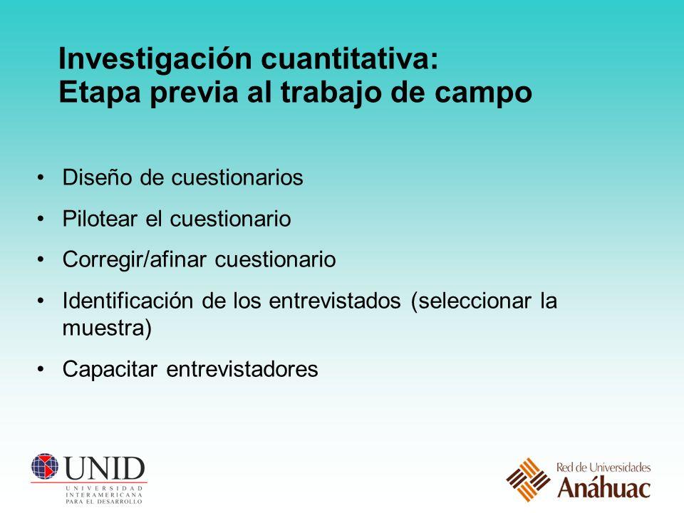 Investigación cuantitativa: Etapa previa al trabajo de campo