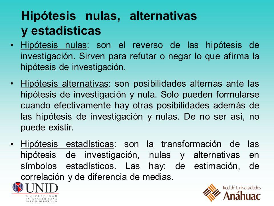 Hipótesis nulas, alternativas y estadísticas